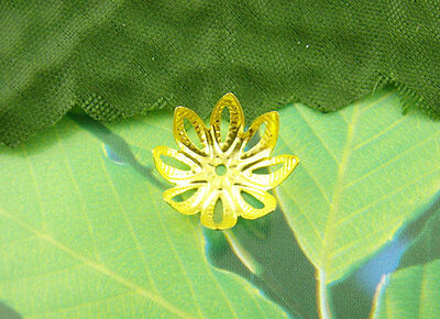 200Pcs Gold Plated Flower Beads Jewelry End Caps 14mm