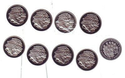 20 Twenty Cent Proof EX Set 2003 1994 1985 2007 1998 2002 2009 2008 1987  BS-54