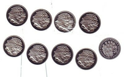 20 Twenty Cent Proof EX Set 2003 1992 2007 1991 1985 1994 1995 1989 2002  BS-53