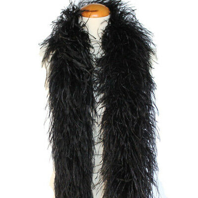 Black 4ply Ostrich Feather Boa Scarf Prom Halloween Costumes Dancing Decor