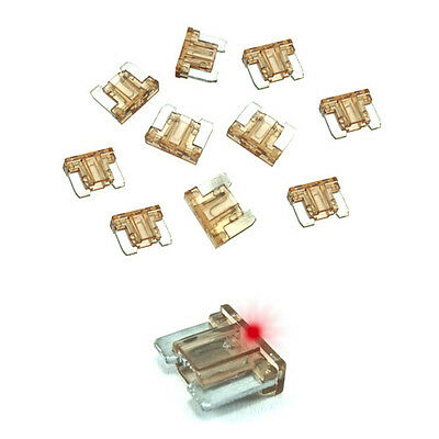 7.5A Brown LED LOW PROFILE MINI Blade Fuse Car Auto Glow Blow 7.5 Amp Pack of 10