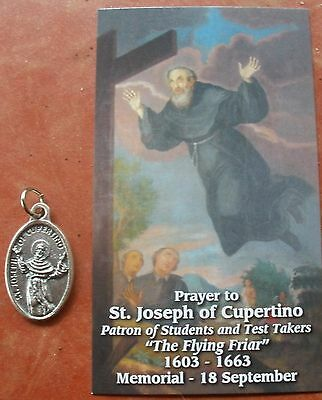 Separated Medal and Holy Card: Saint St. Joseph of Cupertino + Test Takers