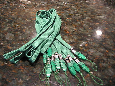 Lot of 10 Neck Straps Lanyards Cell Phone Mp3 ID Badge, Green