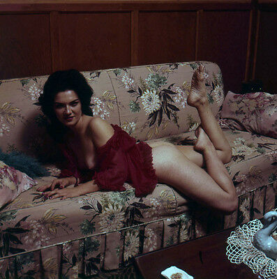 WH72 VINTAGE 60s PINUP MODEL TRANSPARENCY PHOTO Pretty Woman Lounges On A Sofa