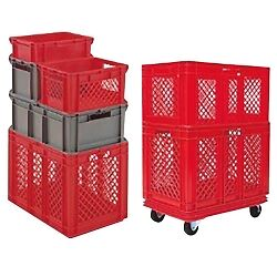 "32""L x 24""W x 12-1/2""H Red Container w/Solid Sides & Base"