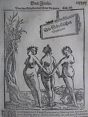 MÜNSTER / MUNSTER: Cosmographia Woodcut Fortunetelling Sibyls - 1598#