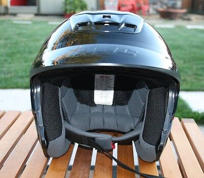 HJC OPEN FACE BLACK MOTORCYCLE HELMET VENTILATED ~Barely Used~