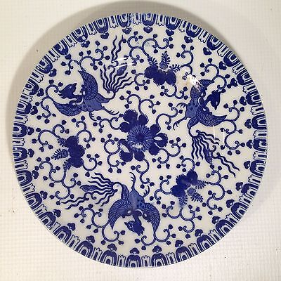 "VTG Made in JAPAN Phoenix WARE Blue WHITE SAUCER TRANSFER WARE 7 1/2""D"