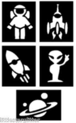 5 x fantastic Space, Alien and Rocket glitter tattoo stencils great for parties