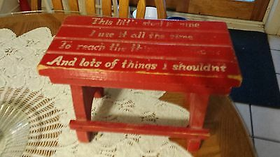 """Vintage Antique Primitive Wood Wooden Childs Stool """"This little stool is mine"""""""