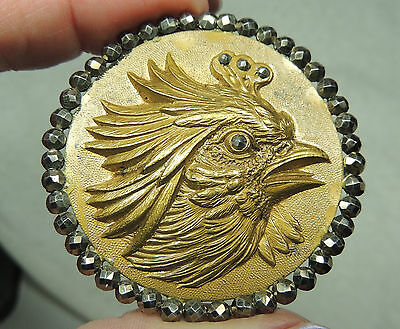 XLG BRASS GILT PICTURE BUTTON W/ CUT STEELS ~ ROOSTER HEAD   METAL