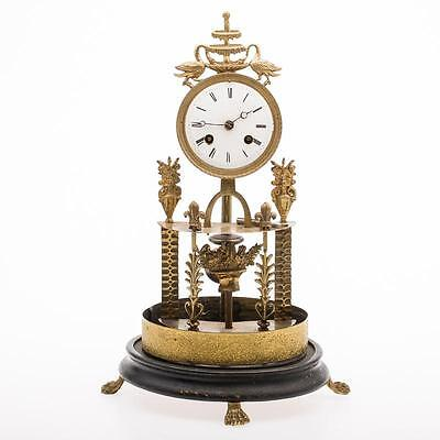 ANTIQUE GLASS DOME BRASS / BRONZE CLOCK - DOME MISSING
