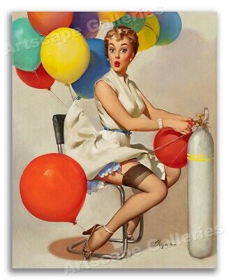 """24x30 /""""Neat Trick/"""" Vintage Style Elvgren Pin-Up Girl Blowing Bubbles Poster"""