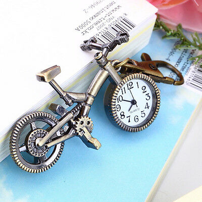 Antique Bronze Bike Shaped Arabic Numerals Keychain Watch GP