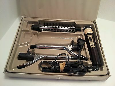 VINTAGE WINDMERE THREE WAY CURLS- HOT CURLING IRON BRUSH SET WITH CASE