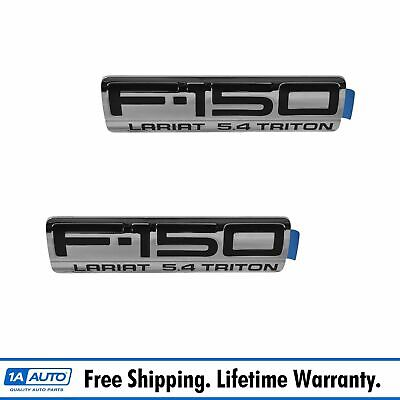OEM F250 Lariat Emblem Nameplate Pair LH /& RH Fender Mount Chrome For Ford