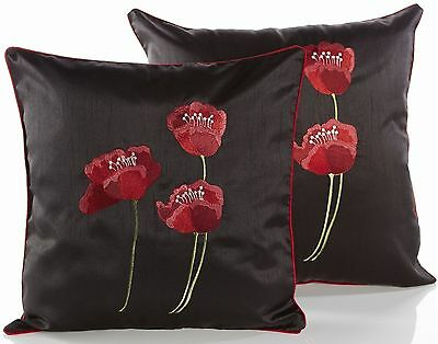 Embroidered Poppies Cushion Covers Available In 2 Sizes Great Value For Money