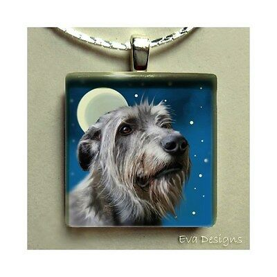 Irish Wolfhound Dog Moon Jewelry Necklace Art Gift Glass Tile Pendant With Chain