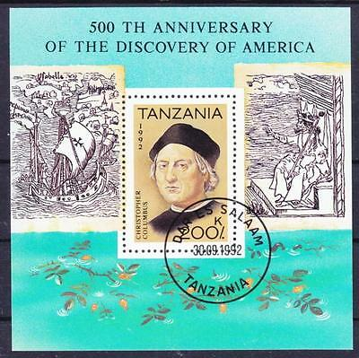 Tansania Christopher Kolumbus Block 1992, gest., discovery of America, used