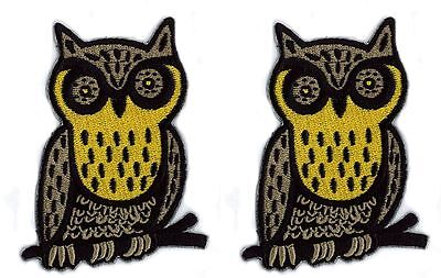 Lot of 2 Retro Owl Iron on Clothes Patch Craft Girl Night Woodsy Hooters Birds