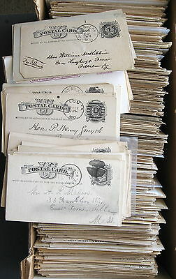Lot of 1,000 US Postal Cards Mostly Used 1880s-1930s