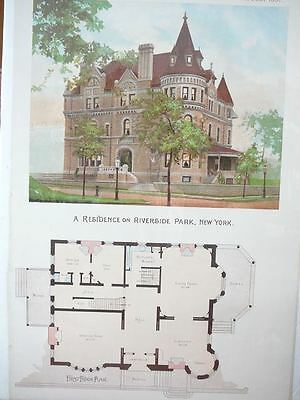 Riverside Park, NY  house illustration & floorplan - Scientific American 1891