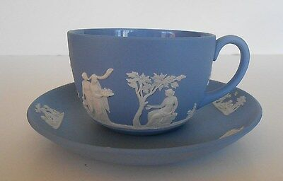 1957 Wedgwood Blue & White Jasperware Cup & Saucer Made in England