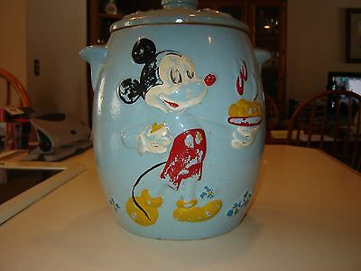 VINTAGE BLUE MICKEY MOUSE COOKIE JAR DISNEY AUTHENTIC