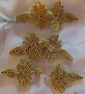 """3 pair GOLD Chinese Frog Buttons closure 3 1/4"""" new never used USA seller"""