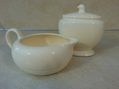 THOMAS O'BRIEN CLAIR CREAM YELLOW CREAMER & SUGAR BOWL
