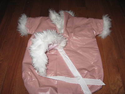 CUSTOM MADE PINK BABY DOLL INFANT CHILD BEAR PAPOOSE AND HAT W WHITE FUR COLLAR