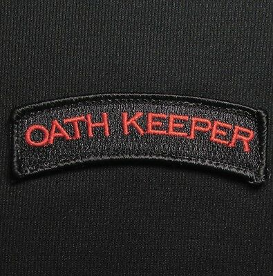 35f113ecc6ce Oath Keeper Tab Tactical Army Military Blck Ops Red Velcro® Brand Fastener  Patch