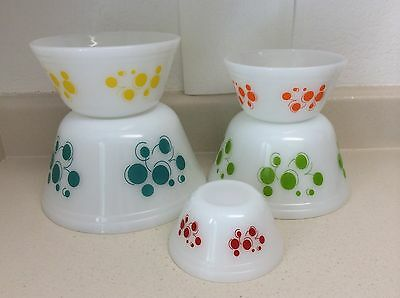Set/5 Federal Glass Atomic Dots Nesting Mixing Bowls Vntg 50's 60's Mid-Century