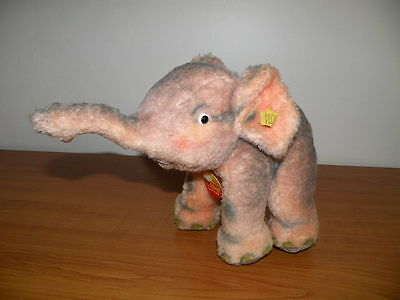 1950'S STEIFF COSY TRAMPY PINK & GREY ELEPHANT 4880/20  NO RES