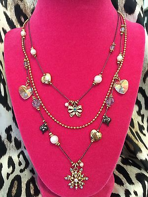 Betsey Johnson Snow Angel Winter Snowflake Crystal Heart Bow Charm Necklace RARE