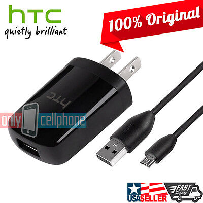 NEW OEM ORIGINAL HTC ONE M7 M8 Home Travel Wall Charger + Micro USB Data Cable