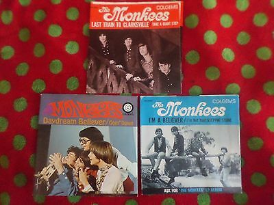 The Monkees 3 Colgems 45 picture sleeves only- new old store stock U.S. 1966-7
