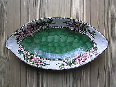 "EARLY 20th CENTURY MALING ""AZALEA"" GREEN FRUIT BOWL: 10"" LONG: VG CONDITION"