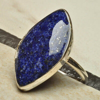 MARQUISE NATURAL LAPIS LAZULI GEMSTONE 100% SOLID 925 STERLING SILVER RING SZ 8