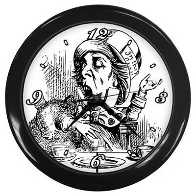 Mad Hatter Alice In Wonderland Black White Wall Clock