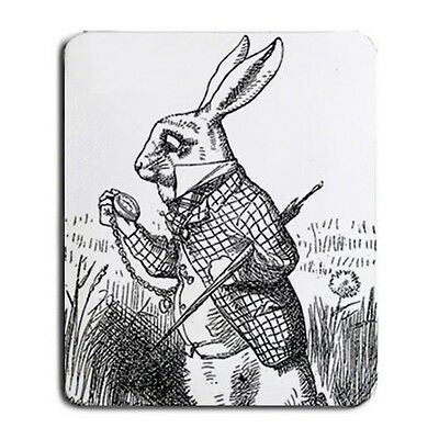 White Rabbit I'm Late Computer Mouse Pad Alice In Wonderland Art