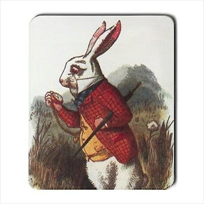 White Rabbit I'm Late Computer Mouse Pad Alice In Wonderland Color Art