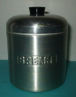 VINTAGE ALUMINUM GREASE CAN W/ STRAINER - NICE