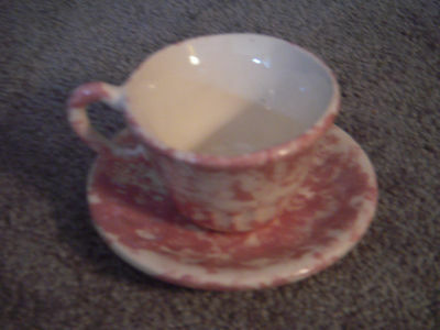 Small Pink Spongeware china tea cup and saucer