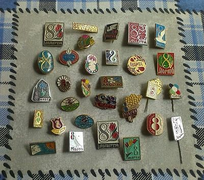 Lot of 30 USSR SOVIET  Russian Pin Badge International Women's Day MARCH 8 # 69