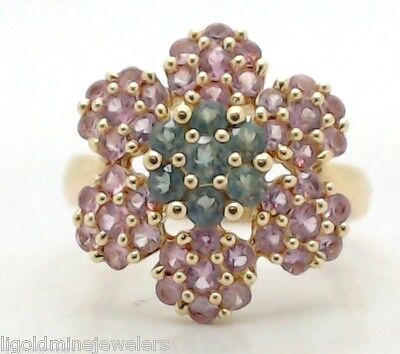 Vintage Designer 14k Gold Pink Green TOURMALINE Cluster Flower Cocktail Ring