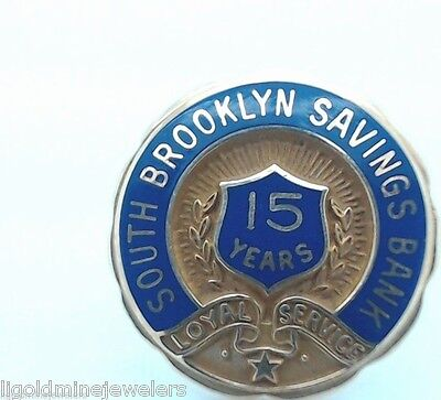 Vintage South Brooklyn Savings Bank 15 Years ervice 14k Gold Pin  DIEGES& CLUST