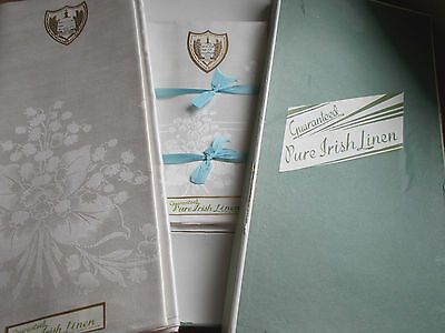 NIB VINTAGE PURE IRISH LINEN* DAMASK TABLECLOTH & 8 NAPKINS LILY OF VALLEY
