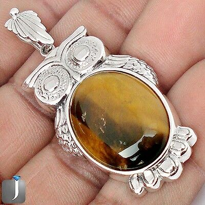 25.91cts NATURAL BROWN TIGERS EYE 925 STERLING SILVER OWL PENDANT JEWELRY F35164
