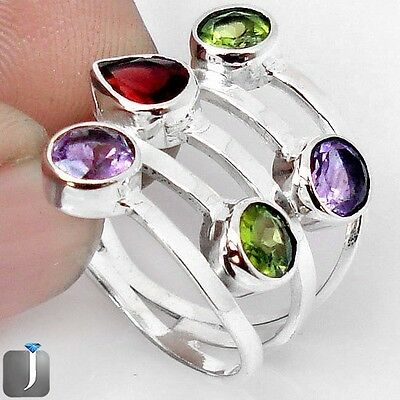 5.99cts NATURAL RED GARNET AMETHYST 925 STERLING SILVER RING SIZE 7.5 F40832
